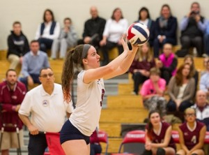 Westborough High School's Julie Hutchinson sets the ball.