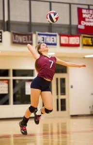 Westborough High School's Kristen Steudel serves.