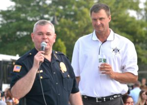 Police Chief Normand Crepeau Jr. thanks Worcester County Sheriff Lewis Evangelidis for supporting Grafton's Night Out block party. Photos by Ed Karvoski Jr.