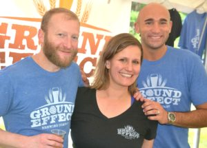 Representing Hudson's Ground Effect Brewing Company are Tim Daley, Lindsay Monroe and Will Vital.