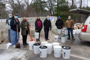 Northborough Rotary Club and Senior Center volunteers for the Sand for Seniors program.
