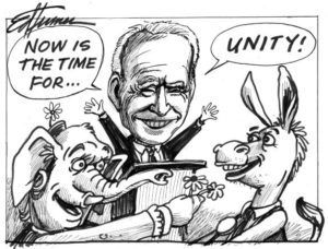"""""""Now is the time for unity' cartoon of Joe Biden"""