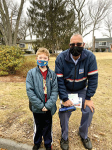 Luke Loizeaux (8) drove with his mom to his old neighborhood to wish Bob Wendorf well.
