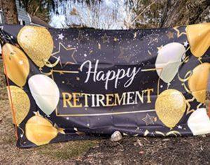 """Happy Retirement"" sign adorns Wendorf's Northgate neighborhood route."