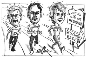cartoon image of three Westborough candidate running (cartoon shows them running in a race) in the March 2 election.