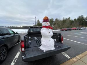 Northborough teacher Kevin Hausmann found this snowman in his truck in the Algonquin parking lot.