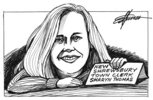 Cartoon image of Sharyn Thomas, who was recently appointed to the position of Shrewsbury Town Clerk.