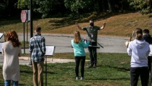 Northborough High School band practice during pandemic