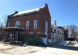 Construction and renovations continued at the Grafton Public Library, earlier this year. (Photo courtesy/Andy Deschenes)