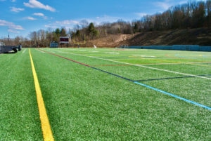 Westborough High School's upper turf field sits empty on a Saturday afternoon.