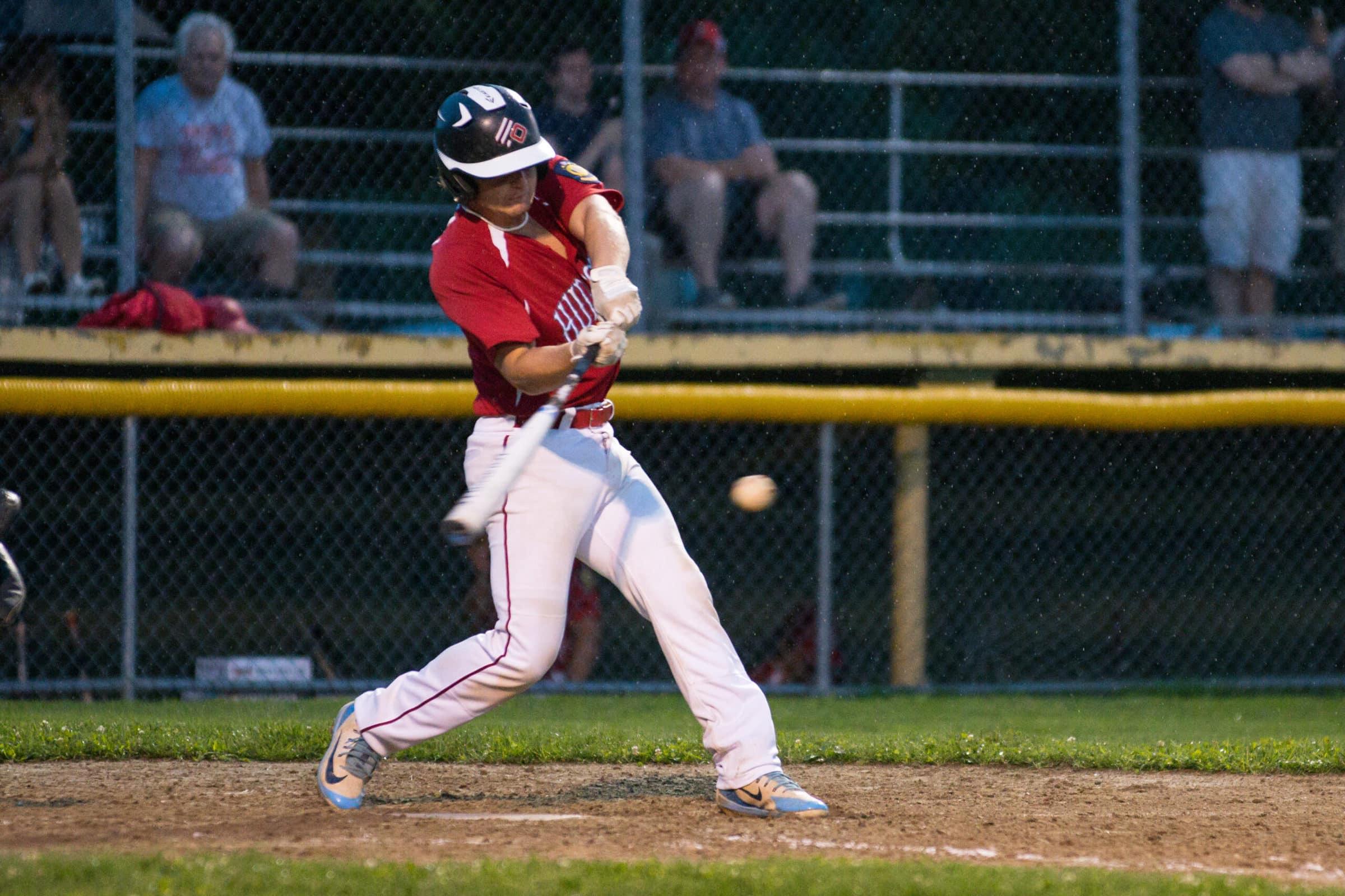 A Hudson Legion Post 100 batter swings on a pitch July 14.