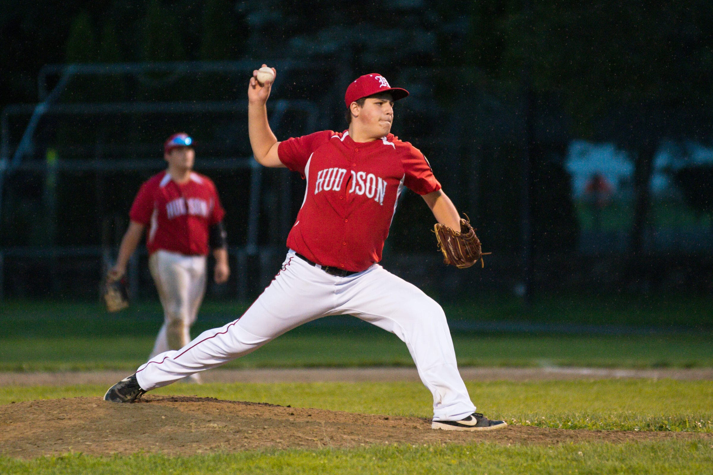 Hudson pitcher Justin Wolfe throws a pitch to an Ashland batter.