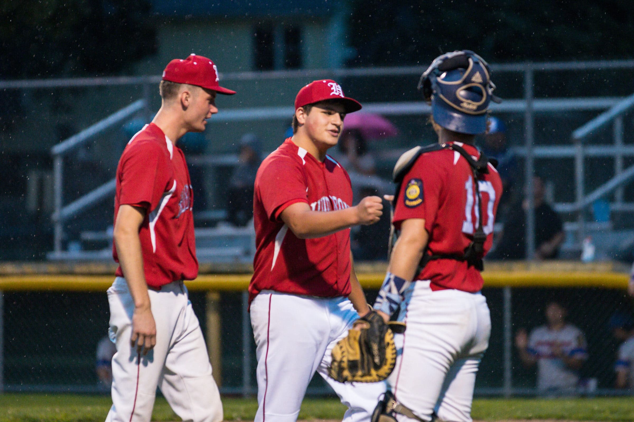 Hudson players celebrate during their game July 14.