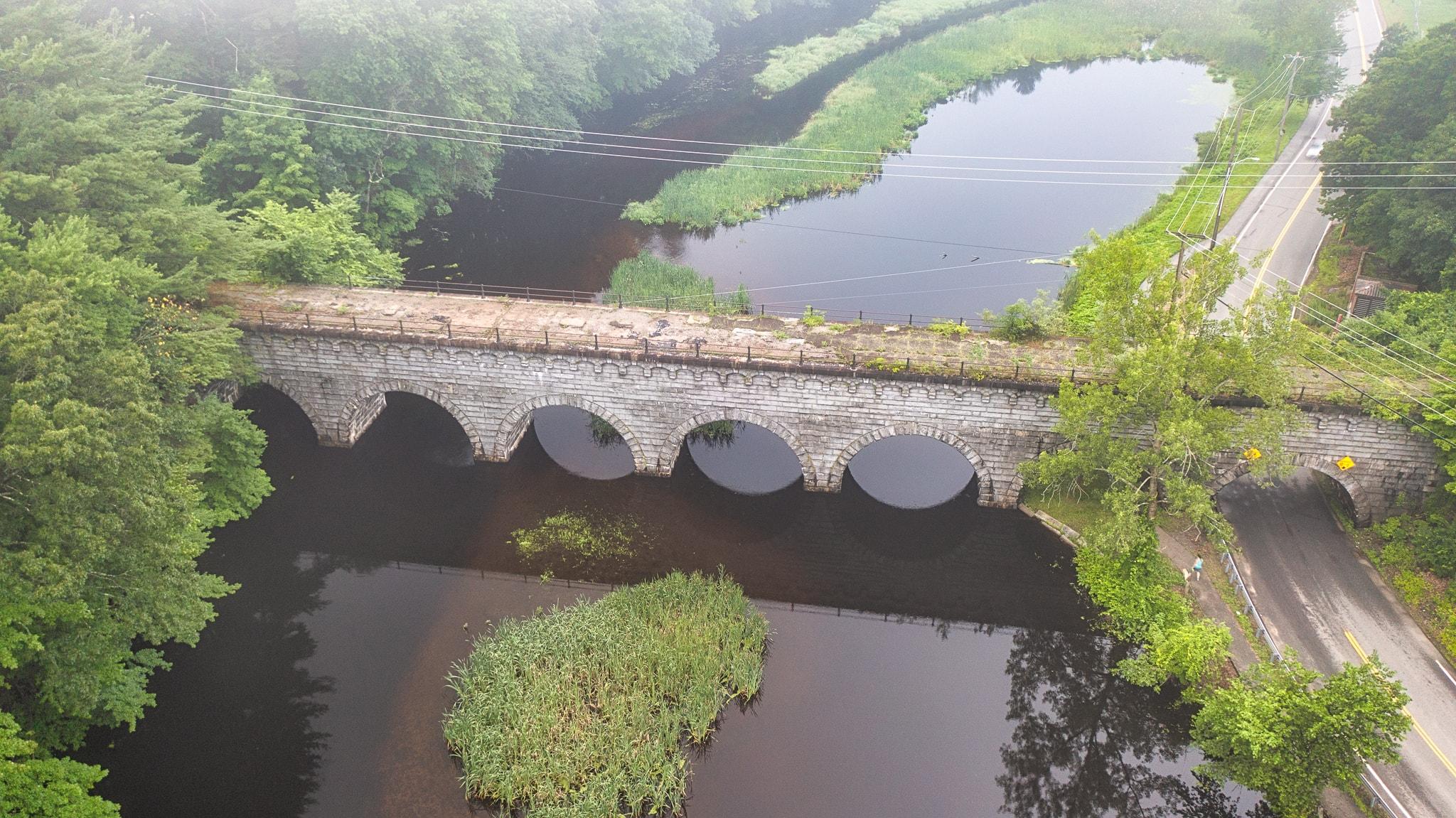 drone image of Wachusett Aqueduct bridge in Northborough
