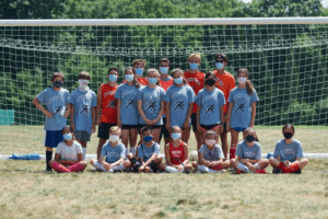 Athletes in the Southborough Soccer Development Program gather for a group photo.