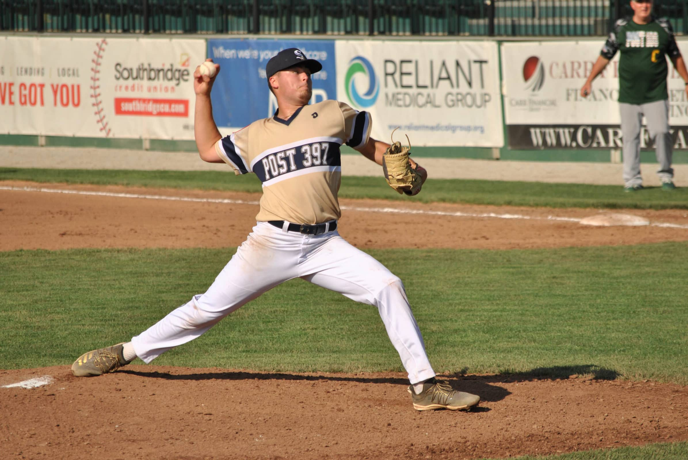 Shrewsbury's pitcher makes a pitch during his team's victory over Sturbridge.