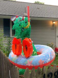 Rexy the dinosaur sports summer swim gear. (Photo/courtesy Alicia Cannistraro)