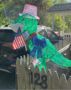 Rexy the dinosaur has been frequently dressed up. (Photo/courtesy Alicia Cannistraro)