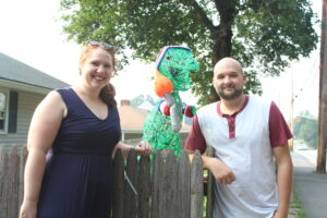 Alicia and John Cannistraro are the people behind the Manning Street dinosaur. (Photo/Laura Hayes)