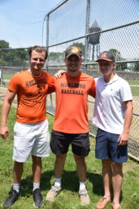 Trey Fucillo, Zhenya Kurland and Matt Farrell all received scholarships from the Marlborough Babe Ruth League as they head off to college.   Photo/Cindy Zomar