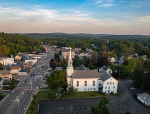 Downtown Northborough drone photo of Trinity Church by Tami White