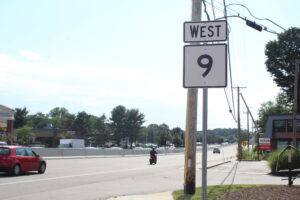Cars pass on the Route 9 state highway. This year's annual Chapter 90 bond bill will send nearly $5 million in road and bridge funding to area municipalities.