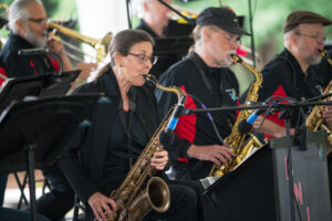 Members of the Bad News Jazz and Blues Orchestra play.