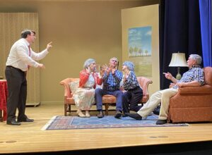 """Rehearsing a scene from Square One Players' production of """"Over the River and Through the Woods"""" are (l to r) James Lamoureux, Christina Pierro, Jim Catapano, Stephanie Sarkisian and Dan Biggins.  Photo/submitted"""