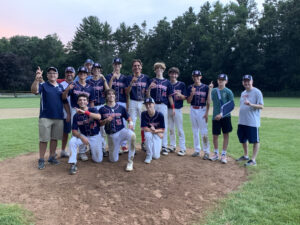 Members of Northborough's Minuteman Red Babe Ruth summer league team pose after winning a championship over Framingham earlier this month.