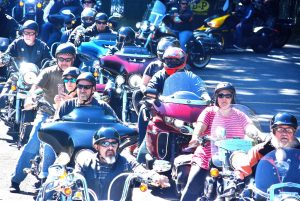 Motorcyclists and passengers are ready to start the 11th Riding for Why Me & Sherry's House from the Hudson Fraternal Order of Eagles Aerie 643. (Photo/Ed Karvoski Jr.)