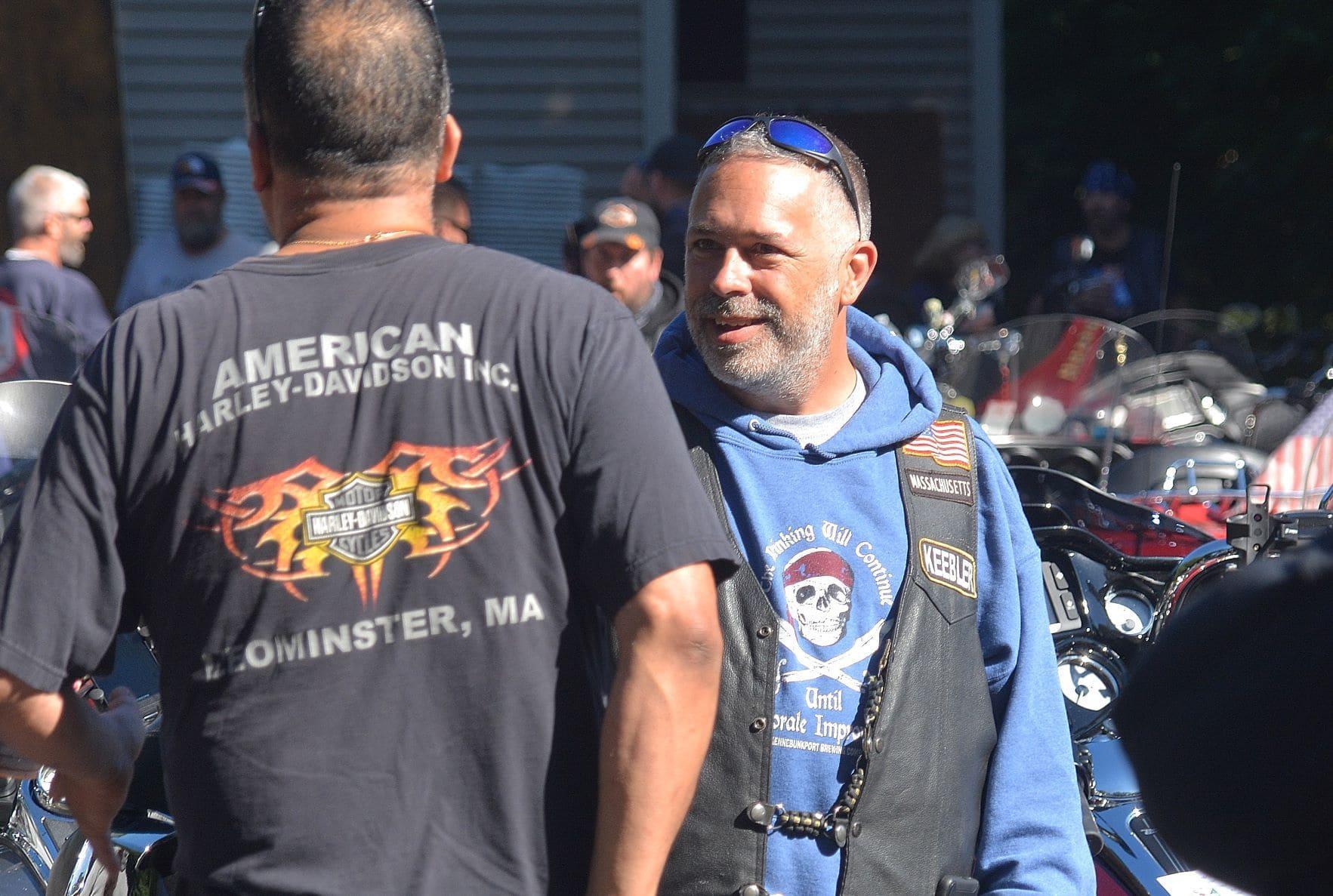 Select Board member Shawn Sadowski mingles before the fundraising motorcycle ride.