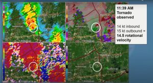 Archived radar imagery from the National Weather Service visualizes data gathered from the storm that spawned three tornadoes in and around Marlborough last month. Photo/via National Weather Service