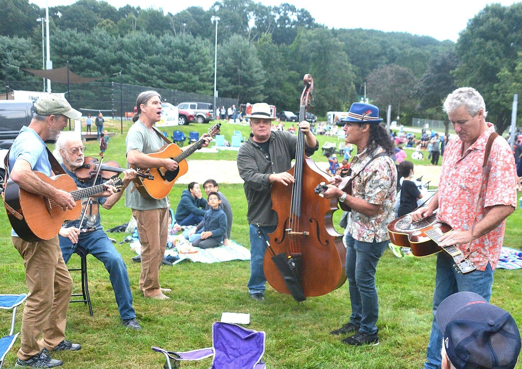 The six-piece Railroad House Band performs for Summer Nights guests.