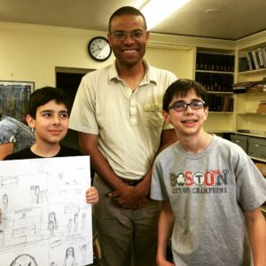 For several years the Southborough Cultural Arts Council has funded a popular workshop at the Southborough library given by graphic novelist Jonathan Todd. Ryan Roberts of Northborough (left) displays his and his brother Andrew's work.