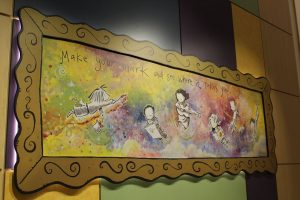 The new Beal School features a replica of a mural in the old Beal School originally done by author/illustrator Peter H. Reynolds.