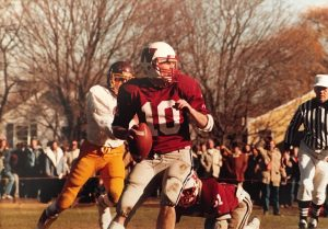 Mike Power prepares to throw a pass during a Westborough High School game.