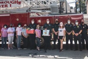 Members of the GFWC Marlborough Junior Woman's Club gathered on Saturday, September 11, 2021 to deliver thank you boxes to Police and Fire First Responders in Marlborough and Hudson. In the photo, from left, are Georgina Chamberlain, Teresa Scarpato, Kathleen Robey, Jean Zucker, J. Campbell, Jodi Schoolcraft, Matt Armour, Ryan DeGiacomo, Diane Birstein, Omar Torres, Alex Martine and Lt. Brian Leonard at Marlborough Central Fire Station.