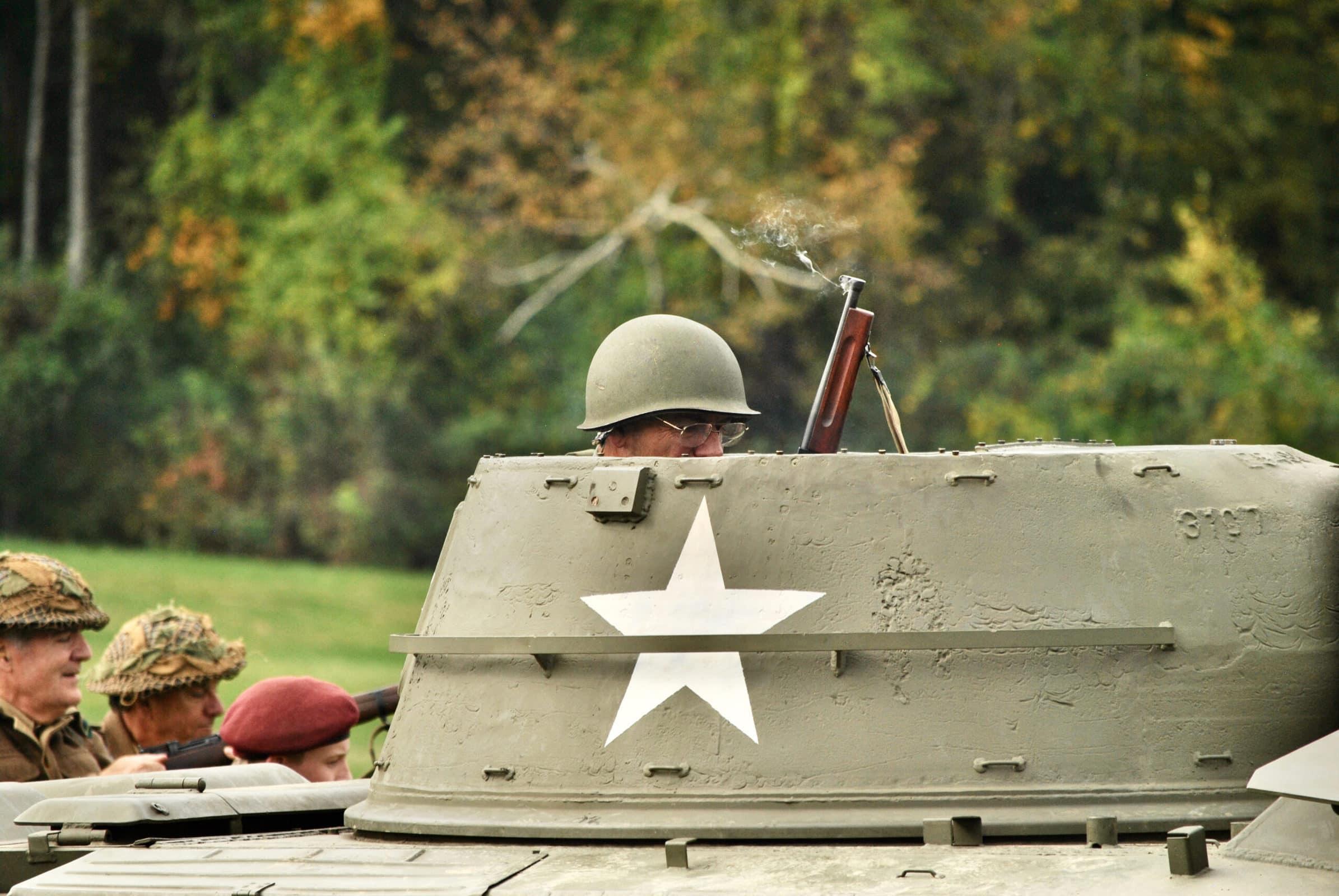 Reenactors navigate intersecting tanks during this year's reenactment.