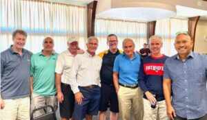 """Tennis buddies of David """"Rocky"""" Zina, second from right, were among the crowd of friends and relatives who surprised him with a 70th birthday party on Sept. 19 at the Hudson/Concord Lodge of Elks. From left, Dana Frye, Mike Barberio, Brad MacCullough, Albert Yesue, Bill Percuoco, Jack Pimental, Rocky, and Raoul Ramos."""