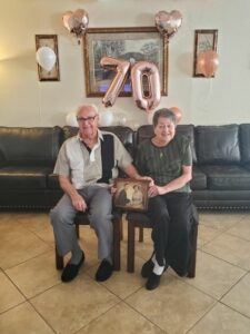 Former Hudson residents John and Joanne (Roney) Costedio celebrated their 70th wedding anniversary on Sept. 15 at their residence in Sun City, Arizona. Among those attending were their four children and their families, which included nine grandchildren and 18 great-grandchildren.