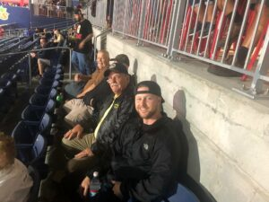A number of veterans recently enjoyed a trip to Polar Park in Worcester to watch the WooSox there. One of the veterans, Scott Moody, was honored during a special fifth inning ceremony. Photos/courtesy City of Marlborough