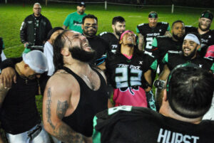 Marlborough Shamrocks players celebrate their victory to earn a ticket to the league championship.