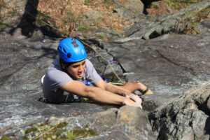 Anshul Dadwal practices outdoor rock climbing.