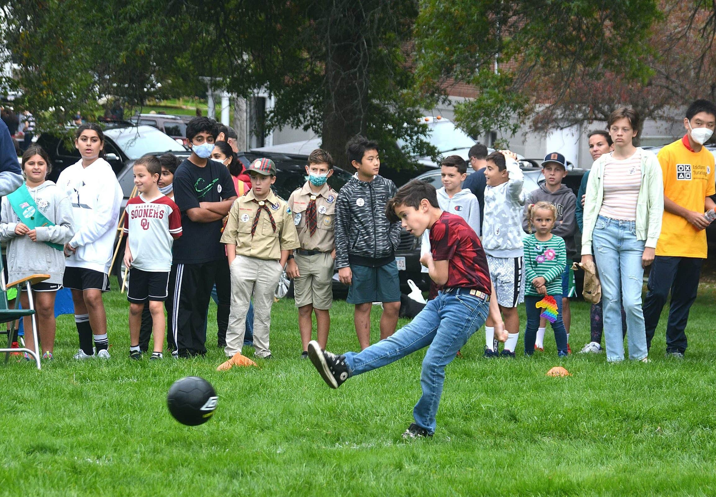 Dylan Cotreau, 8, competes in the Soccer Challenge sponsored by the Knights of Columbus Council 119.