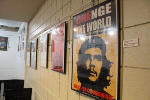 Stephen Lewis' posters are on display in the Westborough Public Library. (Photos/Laura Hayes)