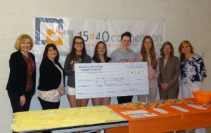 (l to r) Helen Sullivan, director of annual giving, 15-40 Connection; Tracy Sasseville, assistant vice president /senior branch manager, Marlborough Savings Bank, Northborough; Algonquin Regional High School students Taylor Reynolds, Kat Daley, Margo Boland and Anna Dhoula; Ellen Dorian, executive vice president, Marlborough Savings Bank; and Sandy Foster, education and outreach director, 15-40 Connection Photo/submitted
