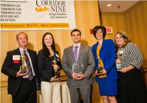 2013 Award Recipients (l to r): Jim Ames, Avidia Bank; Lynn Stromberg, Cyprian Keyes Golf Club; Dominic Fabiano, Arturo's Ristorante; Denise Kapulka, Knight's Airport Limousine Service; and Michelle Barnett, PENTA Communications