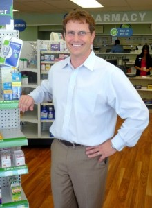 Brian Bouvier in the pharmacy his family has operated for 112 years.  Photo/Nancy Brumback