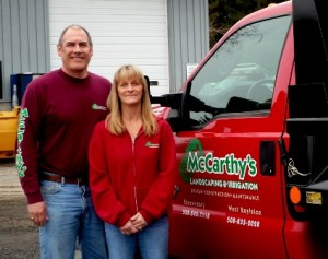 Roger and Sue McCarthy, owners of McCarthy's Landscaping & Irrigation, at their West Boylston headquarters.  Photo:/Nancy Brumback