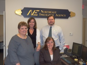 (Standing, l to r) Donna Sabourin, account manager; Susan Cosolito, producer, and Ralph Reynolds, producer. (Seated) Nancy Neuwirth, account manager